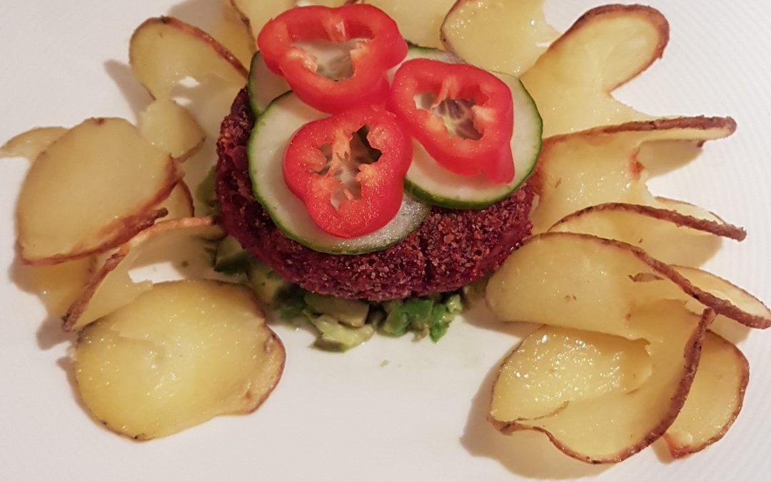 Vegetarische rode bieten burger